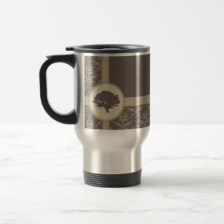 Mocha Oak Damask Travel Mug