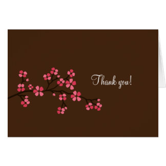 Mocha / Pink Cherry Blossom Note Cards Thank you