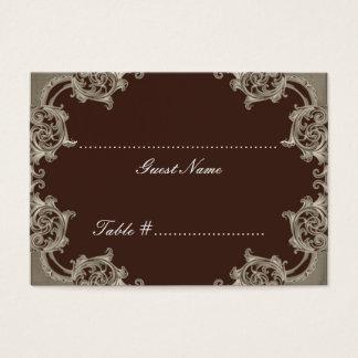 Mocha Taupe Damask Wedding Seating Card