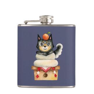 """Mochi Shiba"" Dog Watercolor Illustration Hip Flask"