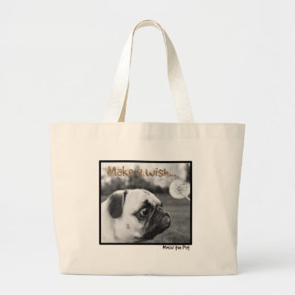 Mochi the Pug Make a Wish Large Tote Bag