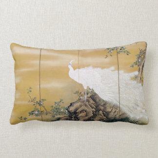 Mochizuki Gyokkei White Peafowl Lumbar Cushion