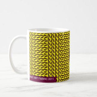 Mock knit - rib stitch, yellow/dark brown - mug