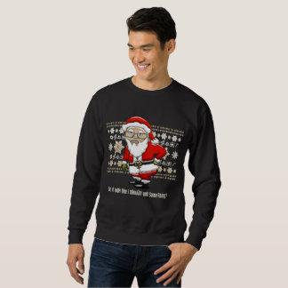 Mocking Santa Beige/White Background Sweatshirt