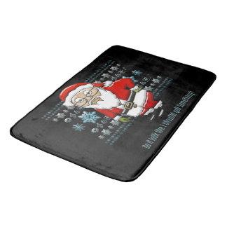 Mocking Santa Black Background Rug