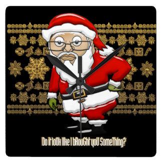 Mocking Santa Black/Gold Clock