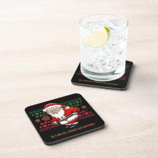 Mocking Santa Black Hard Plastic Coasters - 6 Pack
