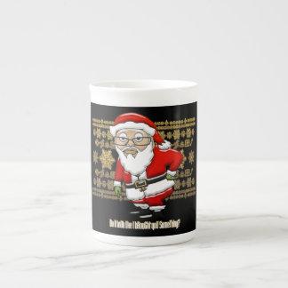 Mocking Santa Gold/Black Background Mug