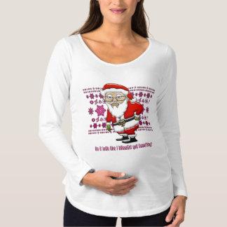 Mocking Santa Pink Background Maternity Maternity T-Shirt