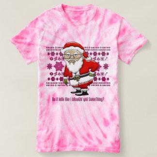 Mocking Santa Pink Tie Dyed T-Shirt