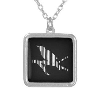 MOCKINGBIRD BAR CODE Bird Barcode Pattern Design Square Pendant Necklace