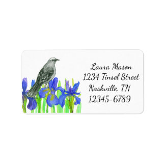 Mockingbird Blue Iris Return Address Label