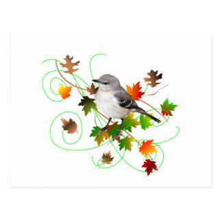 Mockingbird & Fall Leaves Postcard