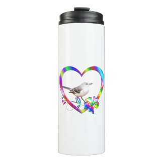 Mockingbird in Colorful Heart Thermal Tumbler