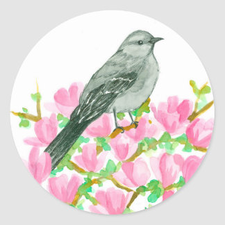 Mockingbird Pink Magnolia Watercolor Classic Round Sticker