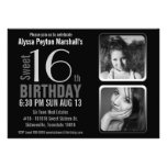 Mod 2 Photos Black and White Sweet 16 Birthday Personalized Invite