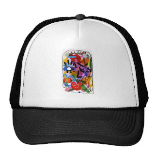Mod Abstract  Face Digital Drawing Cap