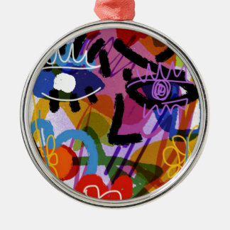 Mod Abstract  Face Digital Drawing Metal Ornament