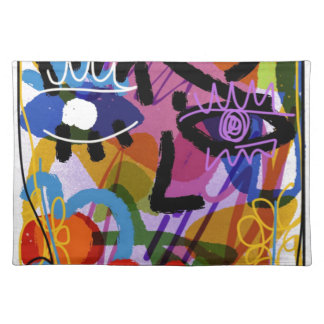 Mod Abstract  Face Digital Drawing Placemat