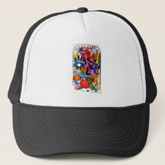 Mod Abstract  Face Digital Drawing Trucker Hat