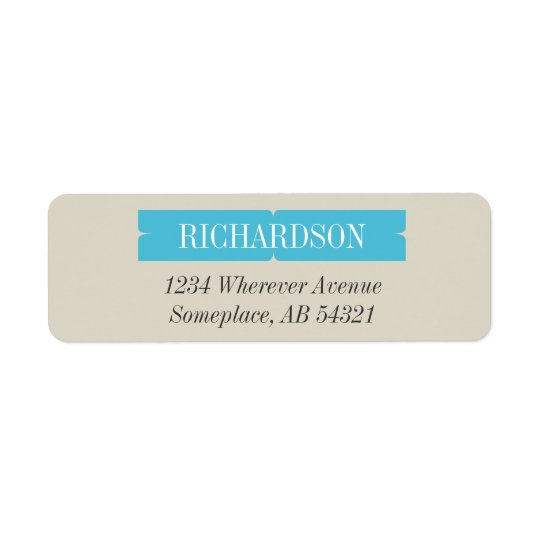 Mod Aqua Blue Curved Frame Bracket Address Label
