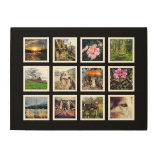 Mod Art Instagram Photo Grid Template Wood Print