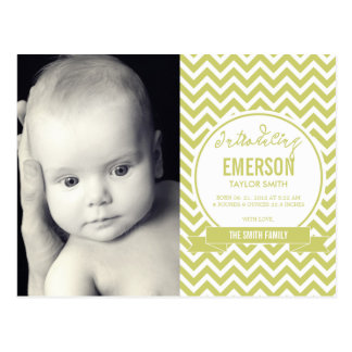 Mod Baby Birth Announcement - Sage Postcard