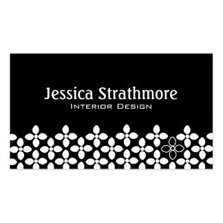 Mod Black and White Flowers Business Cards