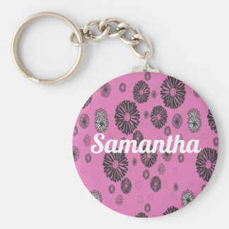 Mod Black and White Graphic Flowers On Pink Key Ring