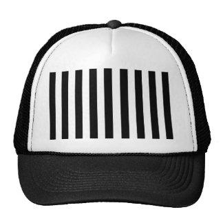 Mod Black and White Stripes Pattern Mesh Hat