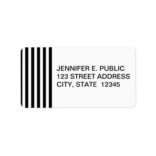 Mod Black and White Stripes Pattern Label