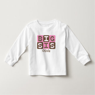 MOD Blocks Big Sis - Pink & Brown Personalized Toddler T-Shirt