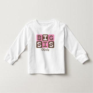 MOD Blocks Big Sis - Pink & Brown Personalized Shirt