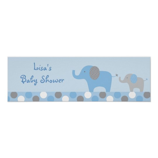 Mod Blue Grey Elephant Baby Shower Banner Sign