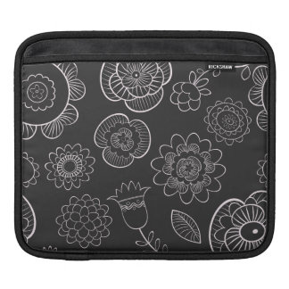 Mod Bold White Black  flowers Floral iPad Sleeve