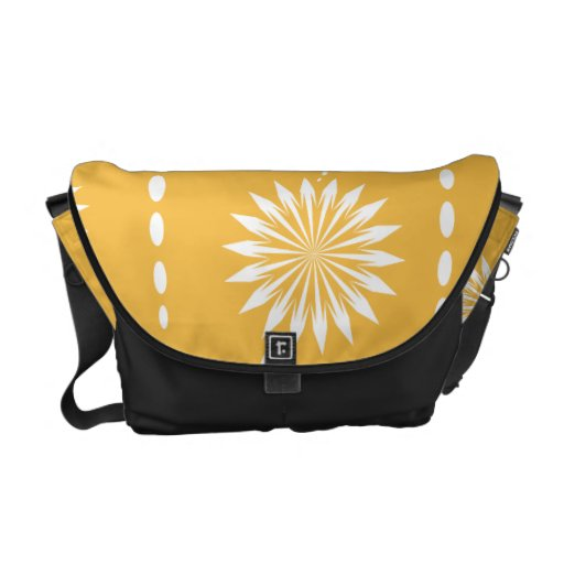 Mod Bold Yellow Flowers Floral Messenger Bag