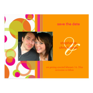 Mod bubbles, Save the Date Photo postcards, Postcard
