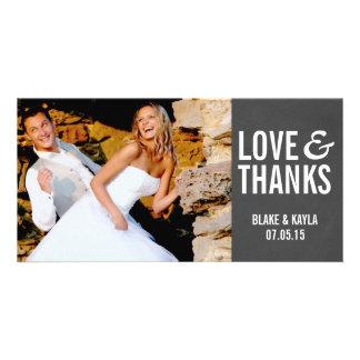 Mod Chalkboard Wedding Thank You Photocard Card