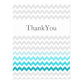 Mod chevron aqua Ombre wedding Thank You Postcard