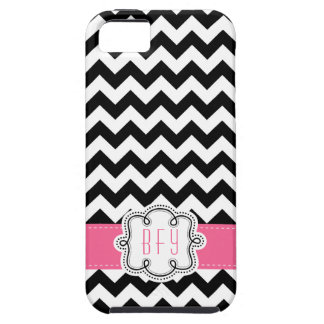 Mod Chevron Pattern Black White PINK initials iPhone 5 Cases