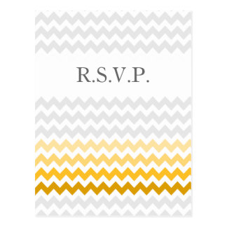 Mod chevron yellow and gray  Ombre wedding rsvp Postcard