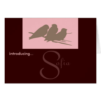 Mod Chic Girl Birth Announcement 2 -Customize Greeting Card