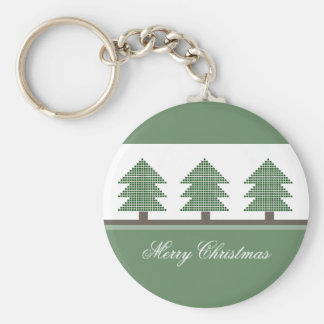 Mod Christmas Trees Holiday Keychain