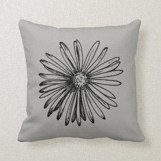 Mod Dahlia Flower Gray Accent Pillow