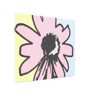 Mod daisy pale yellow and blue canvas prints