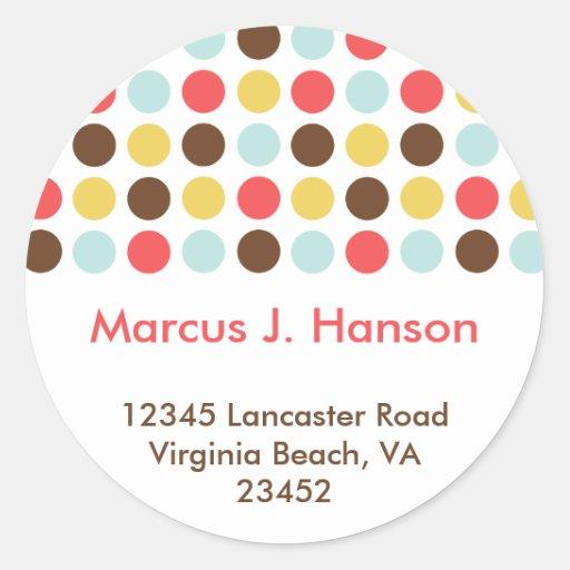 Mod dots retro chic custom circle address label round sticker