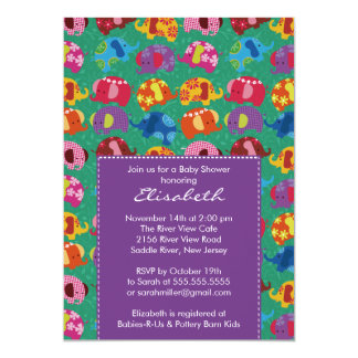 Mod Elephant Baby Shower Invitation Purple