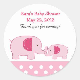 Mod Elephants Pink Round Favor Sticker