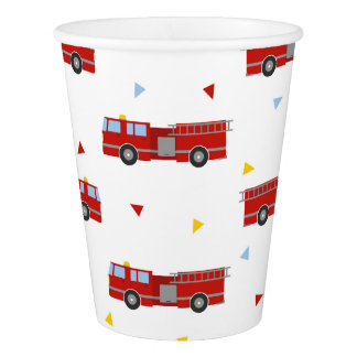 Mod Firetruck Party Pattern Paper Cup