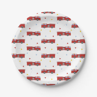 Mod Firetruck Party Pattern Paper Plate